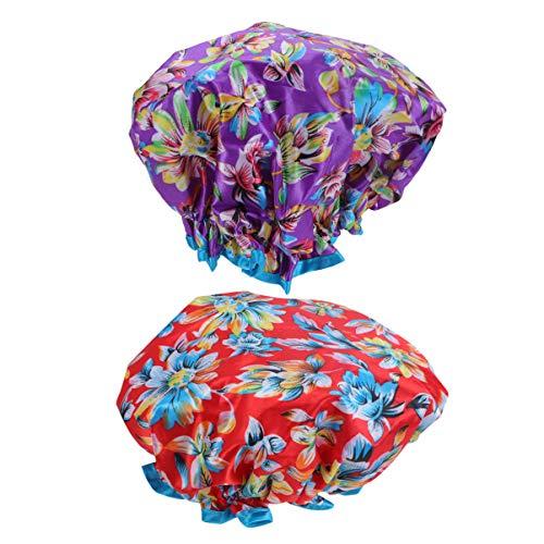 Beaupretty 2 Stück Elastische Duschhauben Doppelschicht Wasserdicht Bedruckte Duschhüte Badehüte für Frauen Dusche Spa Salon (Lila Blume + Rote Blume)