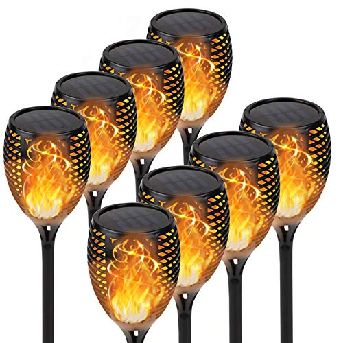 KYEKIO Upgraded 8Pack Torches, Solar Lights Outdoor, 33LED Solar Torch Lights with Dancing Flickering Flames, Waterproof Landscape Decoration Flame Lights for Garden Pathway Yard-Auto On Off