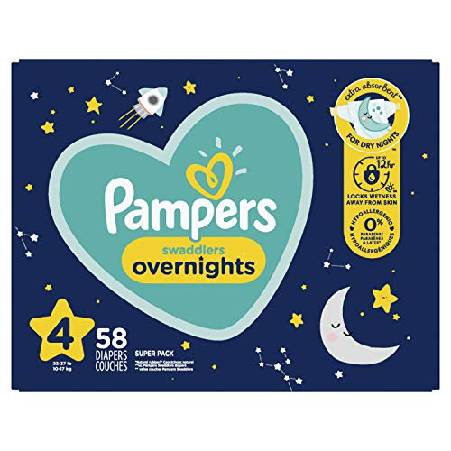 Diapers Size 4 58 Count  Pampers Swaddlers Overnights Disposable Baby Diapers Super Pack Packaging May Vary