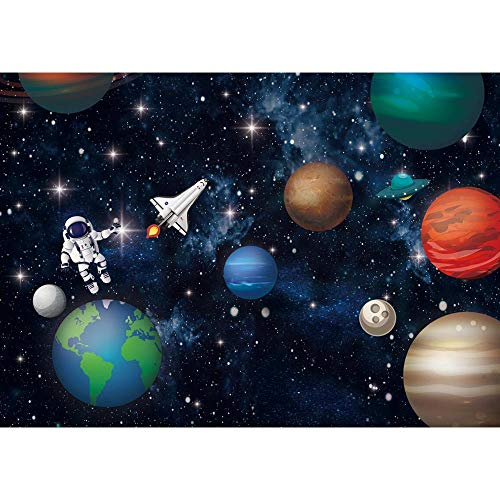 Allenjoy Outer Space Rocket Astronaut Backdrop for Baby Boy Kids Universe Planet Galaxy Birthday Party Cake Table Decoration Banner Vinyl 7x5ft Photoshoot Background Photo Booth Props