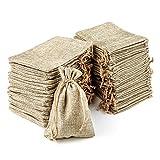 RUBY - 100 bolsitas Saco de Yute, Bolsas de Regalo, bolsitas de Tela Bolsas Yute para Joyas, Bolsas de arpillera con cordón, Saco Navidad, Saco carbón, bolsitas Regalos (13.5 x 9.5cm/100cps)