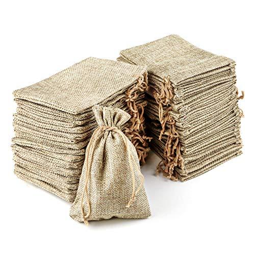 RUBY-Sacchettini Juta, Sacchettini Lino, Sacchetti Regalo Stoffa, Sacchettini Bomboniere Per Confetti Sacchetti Confetti Matrimonio Sacchetto Stoffa (100pcs 9.5cm x 13.5cm)