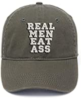Flock Printing Real Men Eat Ass Funny Washed Cotton Adjustable Baseball Cap (Military)