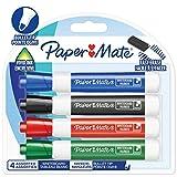 Paper Mate rotuladores para pizarra blanca de olor discreto, punta redonda, colores surtidos de tinta, 4unidades