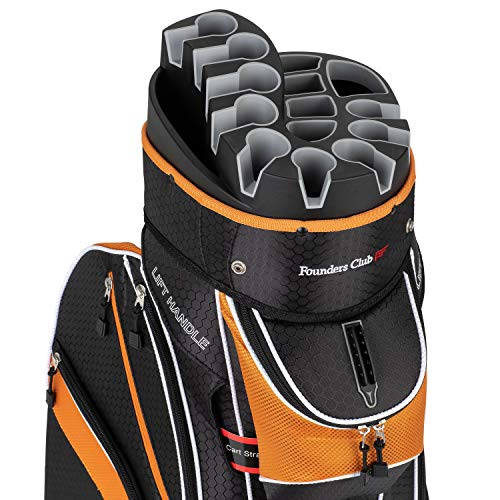 Founders Club Premium Cart Bag with 14 Way Organizer Divider Top (Orange...