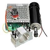 RFElettronica - Fresadora motor portabrocas ER11 CNC 500 W con pinza 52 mm con fuente de alimentación y regulador de velocidad, fresa para grabado.
