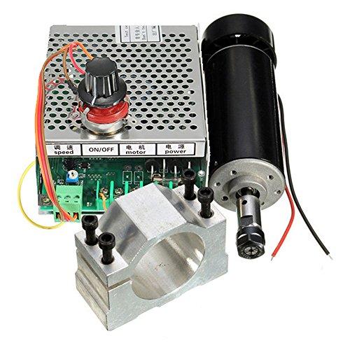 RFELETTRONIC Fräsmaschine Spindel ER11 CNC 500W mit Zange 52mm mit Netzteil und Geschwindigkeitsregler, Fräser für Gravur
