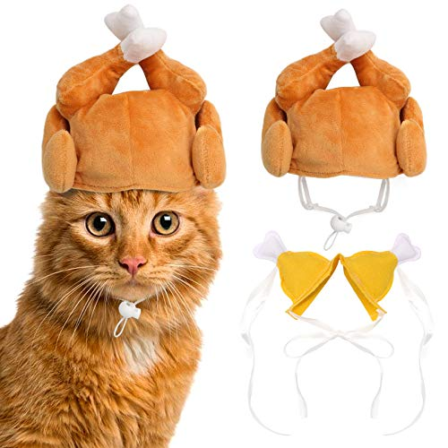 RYPET Thanksgiving Cat Costume 2 Pack - Pet Turkey Hat Thanksgiving Apparel for Cats and Small Dogs