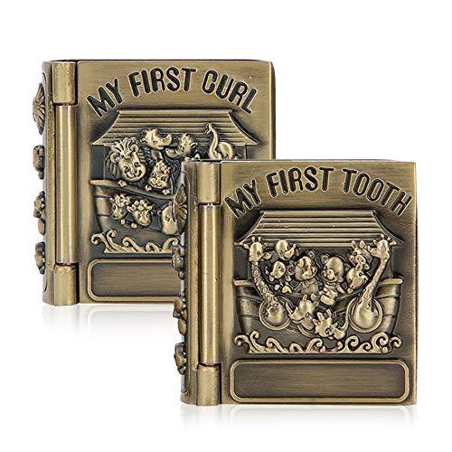 Aoutecen Caja de joyería de 2 Piezas Caja de joyería de Libro de Metal Decorativo Cajas de Rompecabezas Hechas a Mano Cajas Decorativas de Adorno de Regalo Artesanal Vintage Exquisito