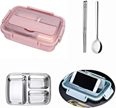 Stainless Steel Lunch Box With Dividers, Hamkaw Bento Boxes Metal Eco Lunch Containers With Compartments - Divided Leakproof Food Storage Container Set For School Office College Picnic Pink