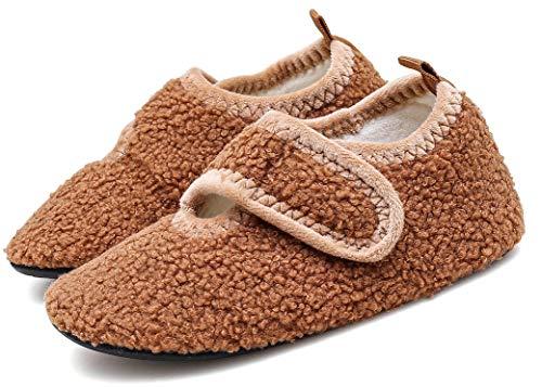 Zapatillas de Estar por Casa para Niños Niñas Zapatos de Interior Invierno Caliente Ligero Pantuflas Suave y Antideslizantes,Marrón,22/23 EU