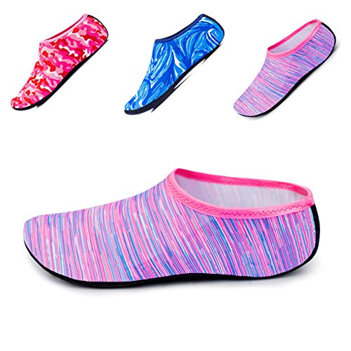 JIASUQI Summer Barefoot Swim Pool Aqua Water Skin Shoes Socks for Women Colorful M US 4-5.5 Women