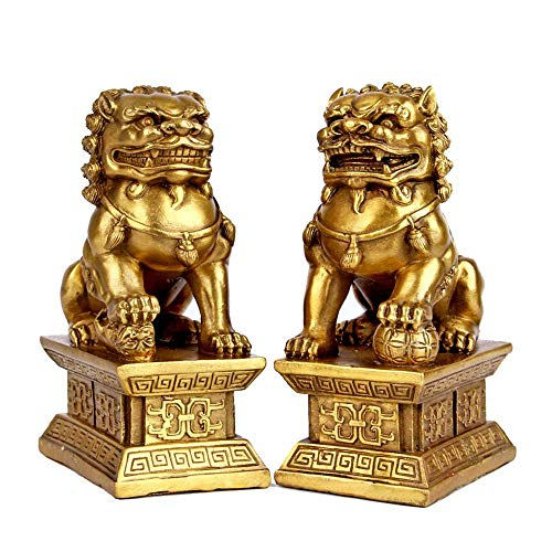 Par de Leones de Beijing Estatuas de Perros Fu Foo Latón Puro, decoración de Feng Shui Chino, decoración de hogar y Oficina