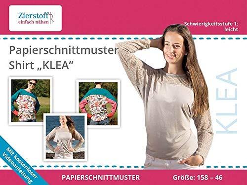 Zierstoff einfach nähen Schnittmuster auf Papier, Shirt KLEA, Gr. 158 bis Damengr. 46 mit Fledermausärmel