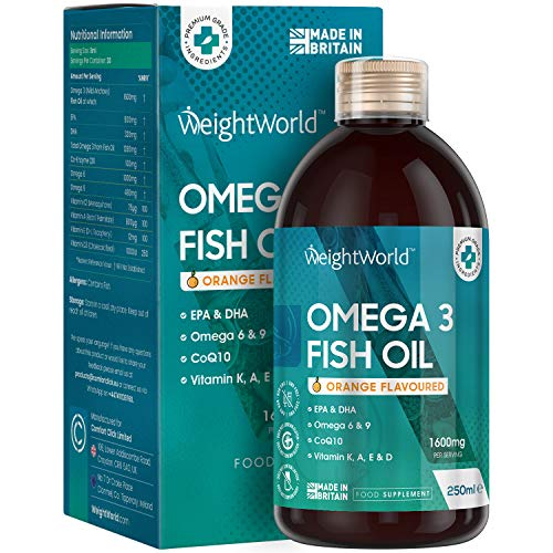 Omega 3 1600mg Liquido da 250ml - Olio di Pesce + Vitamina D, Vitamina A, Vitamina E, Vitamina K, CoQ10 - Per Sistema Immunitario, Occhi, Vista, Cuore - EPA 800mg & DHA 320mg - Omega 3 6 9 Fish Oil
