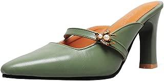 KemeKiss Women Fashion Block Heels Mules Shoes Slip On Slide Sandals