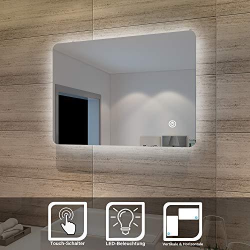 SONNI Badspiegel Lichtspiegel LED Spiegel Wandspiegel mit Touch-Schalter 70 x 50cm kaltweiß IP44 energiesparend beschlagfrei
