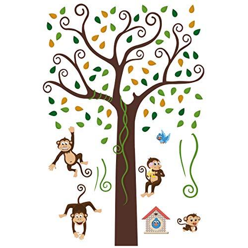 Apalis Wandtattoo Kinderzimmer Affenbaum Sticker Set Affen Tiere Wand Deko 160 x 106cm