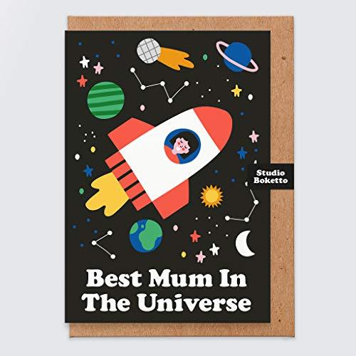 Divertidas tarjetas para el día de la madre – para mamá – Tarjeta de día de la madre de hija – Best Mum in the Universe – Momia – Para esposa – Nan – Tarjeta divertida – Linda – De hijo – de Bump