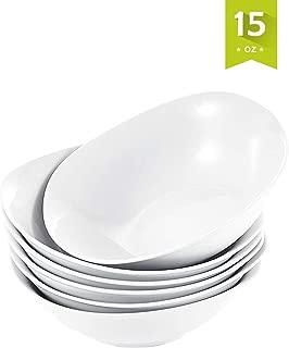 Malacasa 6-Pack Bowls Set 14.8 oz Soup Bowls Set, Porcelain Cereal Bowls Dessert Rice Pasta Bowl Set, Grey White Series Elisa