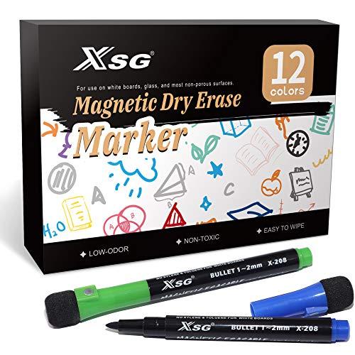 schwamm Whiteboard stifte,(12er Pack)Whiteboard Schwamm mit Stiften, Trocken Abwischbar, Rundspitze 1-2mm, Perfekt für Zuhause Schule Büro