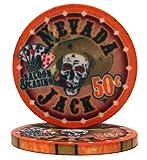 Nevada Jack Casino Grade Ceramic 10-gram Poker Chip - Pack of 50 ($0.50 Orange)