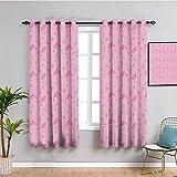 Cortinas florales insonorizadas para dormitorio diseño artístico de flores motivos y pétalos patrón rosa natural jardín cortina de interior rosa claro bebé rosa gris W52 x L63 pulgadas