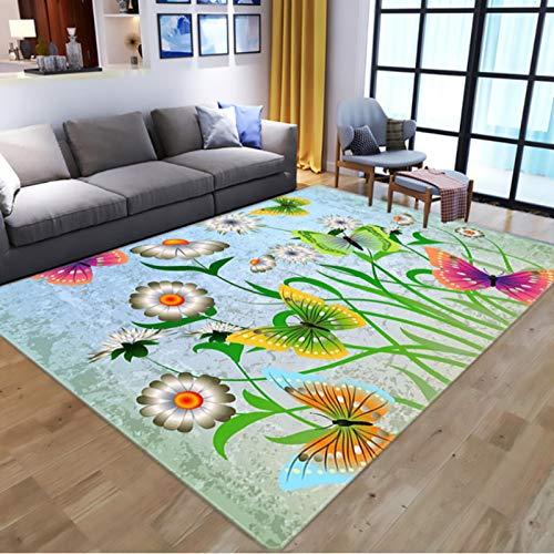 Nordic 3D Flowers Butterflies Print Teppiche, Cartoon Animal Kids Spielmatte, Wohnzimmer Langlebiger rutschfester Teppich120 * 160Cm