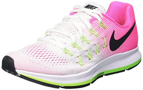 Nike Air Zoom Pegasus 33, Scarpe Running Donna, Multicolore (White/Black-Pink Blast-Electric Green), 41 EU