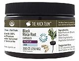 The Maca Team Premium Raw Black Maca Root Capsules, Certified Organic, Vegan, GMO- and Gluten-Free, 750 mg Size, 200 Count