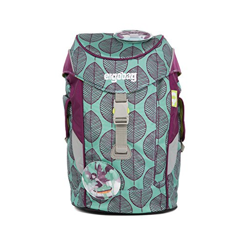 ERGOBAG Mini (Plus) Backpack for Kindergarten Kinder-Rucksack, 26 cm, 10 L, Leaves Mint Purple