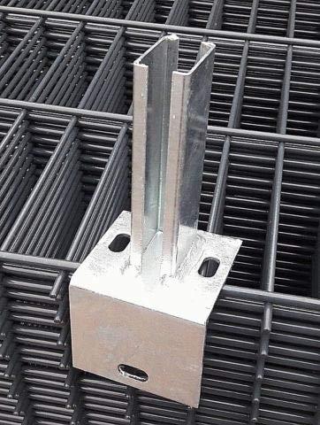 Winkel Bodenplatte Fußplatte Adapter L- Platte L-Winkel Sockel Doppelstabmattenzaun f. Pfosten 40x60 Zaun Pfosten Träger
