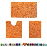 HOMEIDEAS 3 Pieces Bathroom Rugs Set Orange, Extra Soft Chenille Bath Rugs Mat, Absorbent Plush Shaggy Bath Rugs, Machine Washable & Non Slip Bath Rugs for Bathroom, Tub, Shower