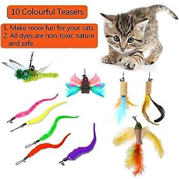 AIDIYA Cat Dangler Toy Training Télescopique interactif rétractable Naturelles plume Wand Cat Toy avec 10 recharges de plumes