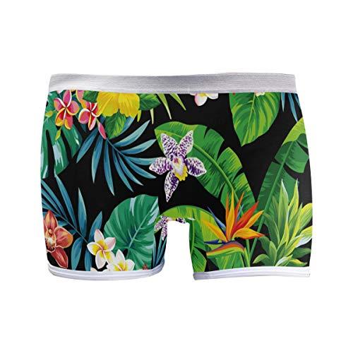 PUXUQU Damen Boxershorts Panties Tropisch Ananas Palme Blätter Blume Unterwäsche Unterhosen Pants