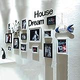 KINGXX-03 Marcos de Fotos Juego de Colgante de Pared Familiar Negro de 13 Marcos de Fotos de Madera combinación Carta decoración Blanco