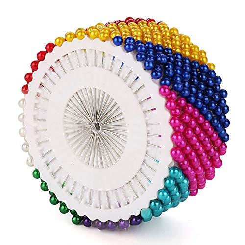 Hovome 480pcs MulticolorDecoratieve Ronde Faux Parel Hoofd Corsage Naaipinnen Rechte Quilting Parel Hoofd Pins voor Kerstmis en andere ambachten maken