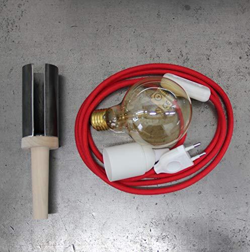 Flaschen Lampe (Textielkabel rot)