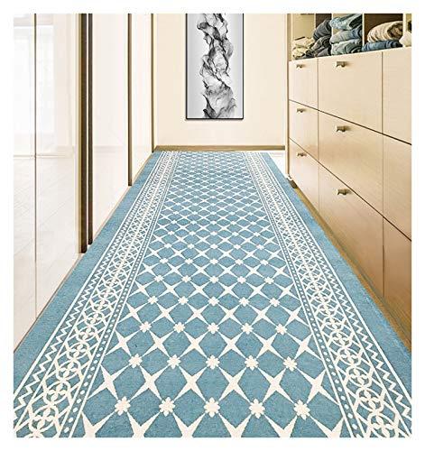 ditan XIAWU Korridorteppich Im Europäischen Stil Treppe Wohnzimmer Streifen Zuhause rutschfest (Color : Blue, Size : 80x300cm)