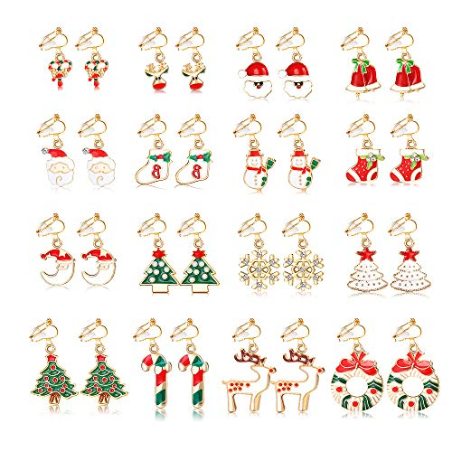 SAILIMUE 16 Pairs Christmas Earrings for Women Dangle Clip On Earring Santa Claus Elk Snowman Christmas Tree Non Piercing Christmas Clip On Earrings Set Thanksgiving Xmas Gift