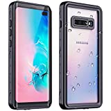 Redpepper Galaxy S10 Plus Waterproof Case, Protective Clear Cover with Built-in Screen Protector, Support Wireless Charging IP68 Waterproof Shockproof Case for Samsung Galaxy S10 Plus (Black/Clear)