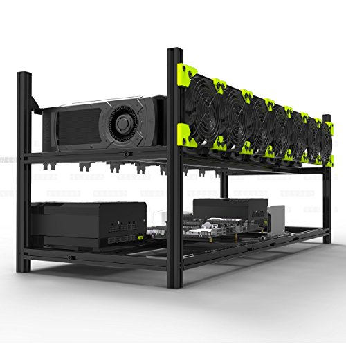 Veddha V3C 8-GPU Mining Case Aluminum Stackable Mining Rig Open Air Frame Case with Fan Mount - Ethereum(ETH,ETC)/ZCash(ZEC)/Monero(XMR)/Bitcoin(BTC)/Siacoin(SC)