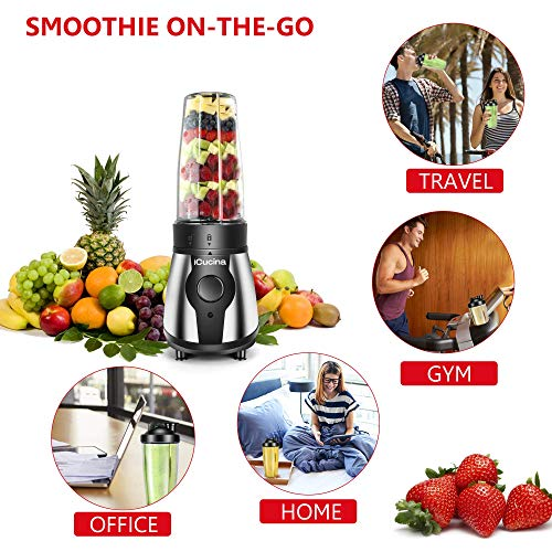 Icucina Personal Portable Bullet Blender 300 watt for shakes and smoothies| Easy Clean Shake Blender with One-Button Operation |28 Ounce Blender Cups with To-Go Lids