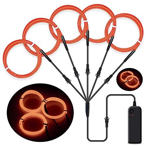 SZILBZ 5 x 1m EL Draht Lichtschlauch Leuchtschnur El Kabel Wire für Partybeleuchtung Weihnachtsfeiern Disco Party Kinder Halloween Kostüm Kleidung Orange