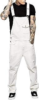 WUOOYOQ Men's Jeans Fashion Jumpsuits Distressed Denim Bib Overalls for Men Black Suspender