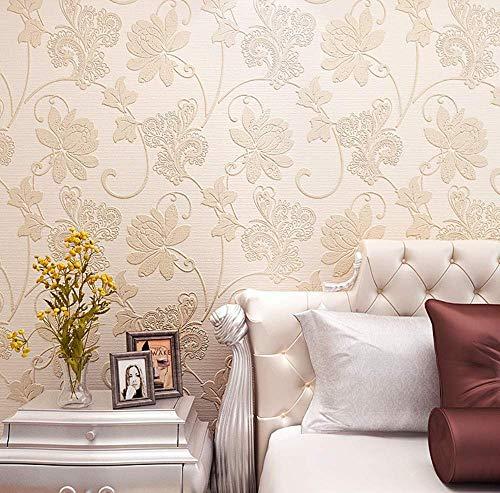 Wallpaper Non-Woven European Garden Wallpaper Snuggle Zand Geel Behang for woonkamer TV Sofa slaapkamer behangen Achtergrond 0.53mx10m jilisay (Color : Light Grey)