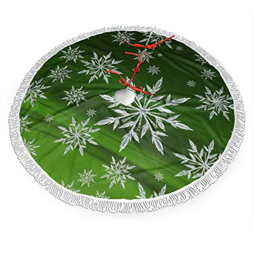 NiWCGP Snowflake Green Background Christmas Tree Skirt, 48 Inches Tree Skirts for Party Holiday Decorations Xmas Ornaments Indoor Outdoor