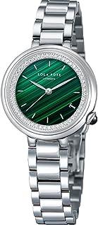 Lola Rose Women's Malachite Watch with White Gold Tone Three-Bead Steel Bracelet