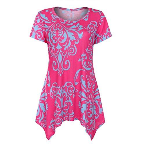 TUDUZ Sommer Damen Eegant Tops Kurzarm Swing Boho Retro Tunika Blumen Flare Tee Bluse Shirt (Lila, XXL)