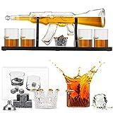 GJCrafts Set di Decanter per Pistola da Whisky con 4 Bicchieri da Whisky Bullet Decanter per Whisky con Pistola per Fucile Decanter per Whisky con Set di Pietre di Ghiaccio per Vino, Brandy, Bourbon